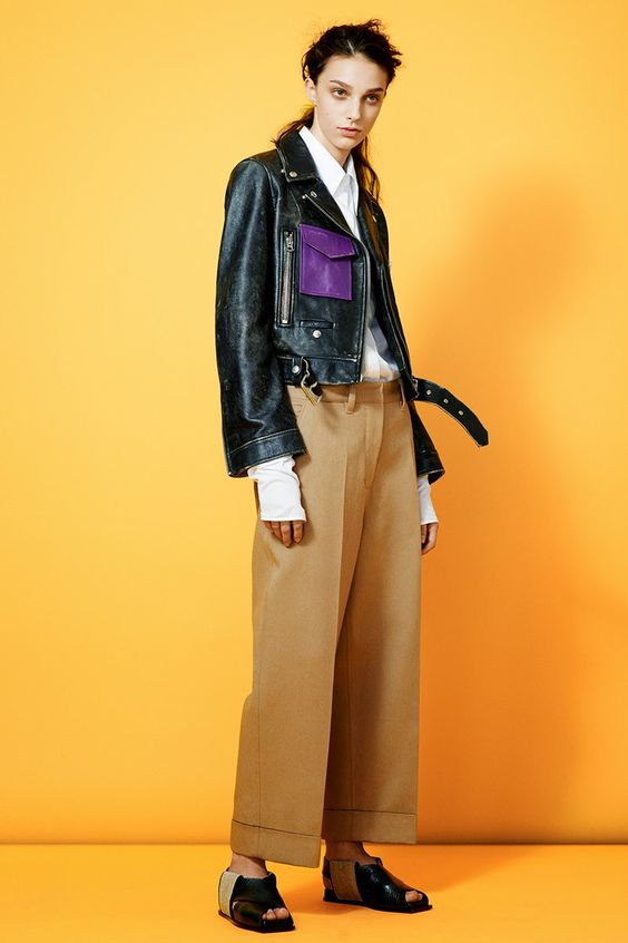 That purple pocket on a leather jacket, this just makes me smile :) Acne Studios Resort 2015