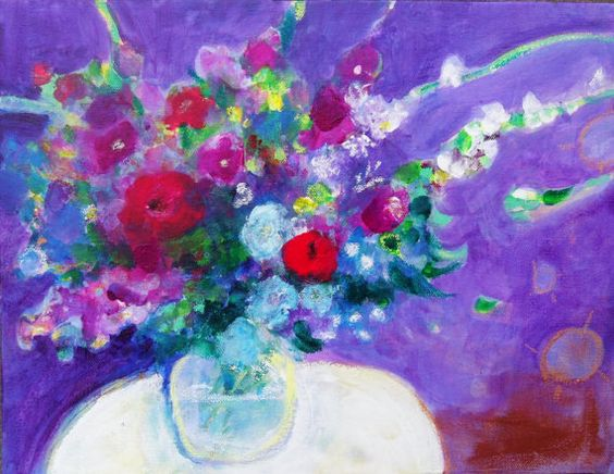 Floral Abstract Still Life on Canvas by kerriblackman SOLD