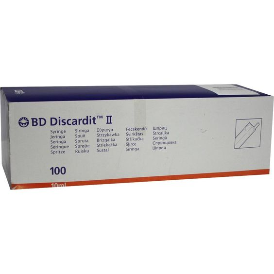 BD DISCARDIT II Spritze 10 ml:   Packungsinhalt: 100X10 ml Spritzen PZN: 03626823 Hersteller: Becton Dickinson GmbH Preis: 8,52 EUR inkl.…
