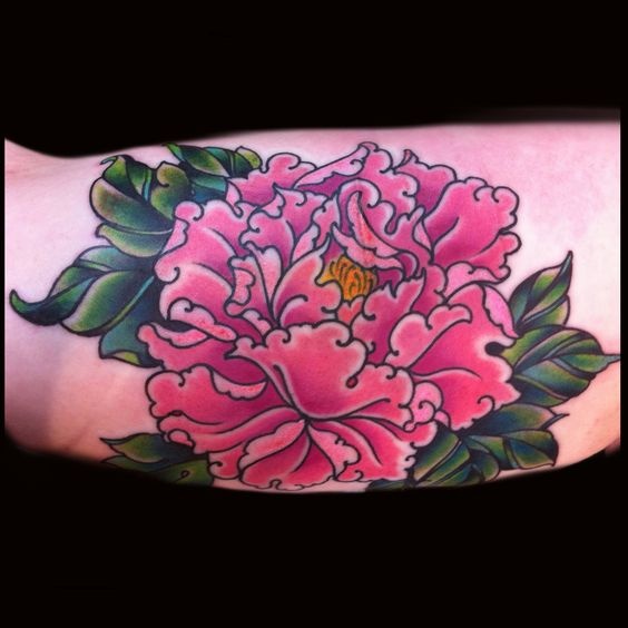 Jessi Lawson Artist I Love The Bright Colors: Girly Pink Peony Tattoo Done Jessi Lawson Instagram