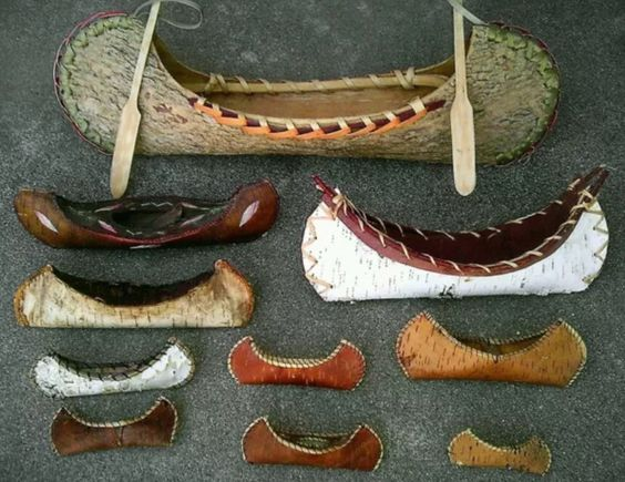 Vintage / antique Native American birchbark (and other species) handmade canoe collection.