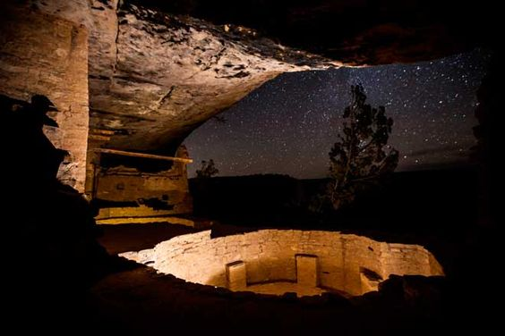 Glowing Kivas in the Balcony House at Mesa Verde National Park, Colorado. NPS photo by Jacob W. Frank. Because it is one of the darkest national parks, this is one of the best places to go stargazing.