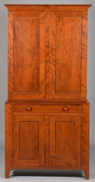 Figured Cherry Two Piece Cupboard, Ohio River Valley