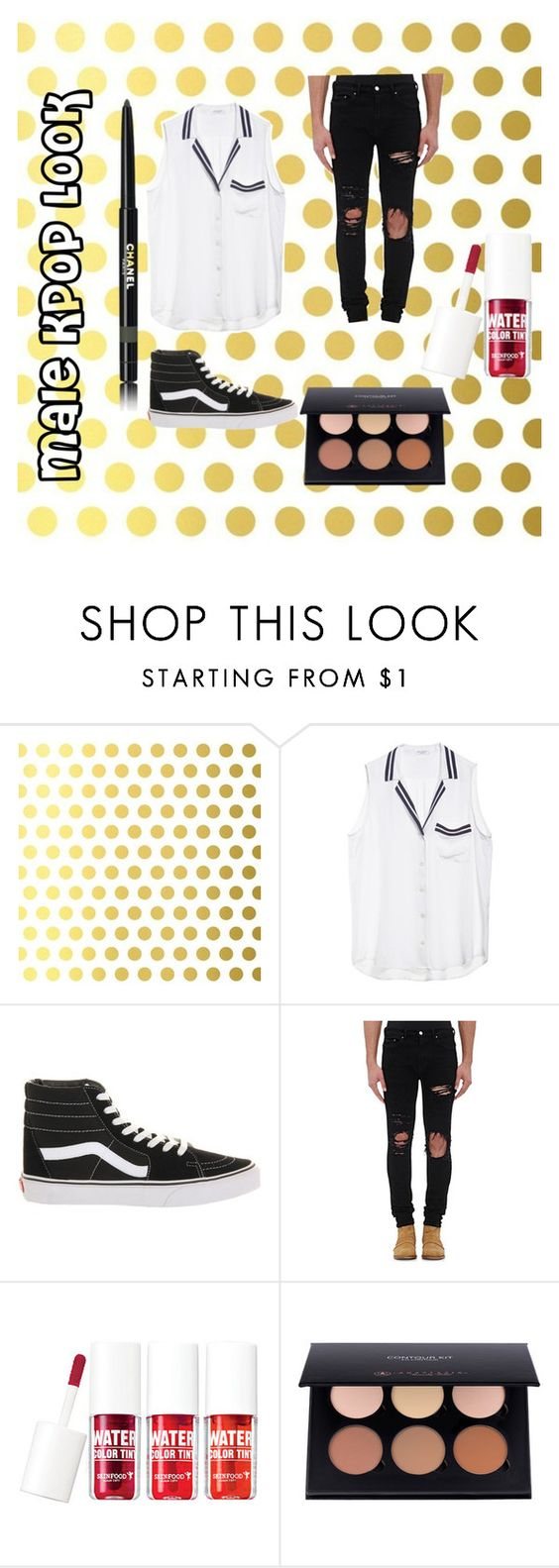 """Male Kpop Look"" by kenzthe11th on Polyvore featuring Vellum, Equipment, Vans, AMIRI, Skinfood, Chanel, men's fashion and menswear"