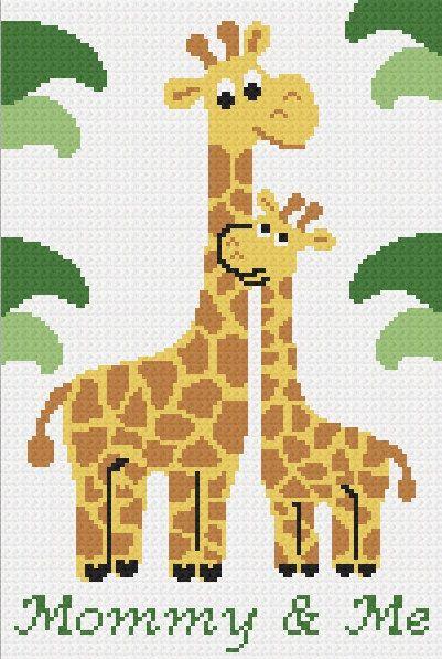 Crochet Jungle Afghan Pattern : INSTANT DOWNOAD cross stitch Chella Crochet Giraffe Mommy ...