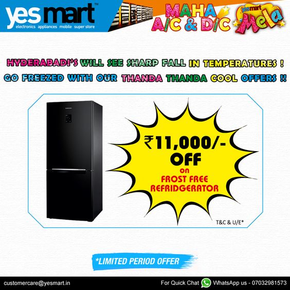 #YesMart Fantastic Friday Offers Preserve your Food in this #Summer with Brand #Refrigerators with Exclusive offers from #YesMart. Visit to your nearset #YesMart store and Grab these #Refrigerators to your Home, before the Offer ends. For more info Visit – www.yesmart.in