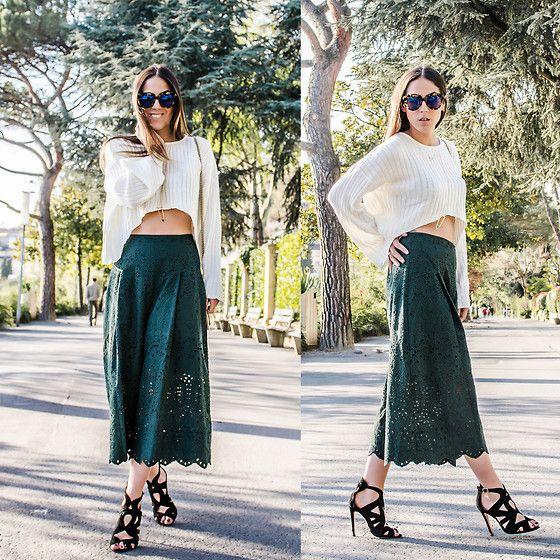 H&M Culotte, Style Moi Bell Sleeve Top, Zara Black Sandals, Karen Walker Sunglasses