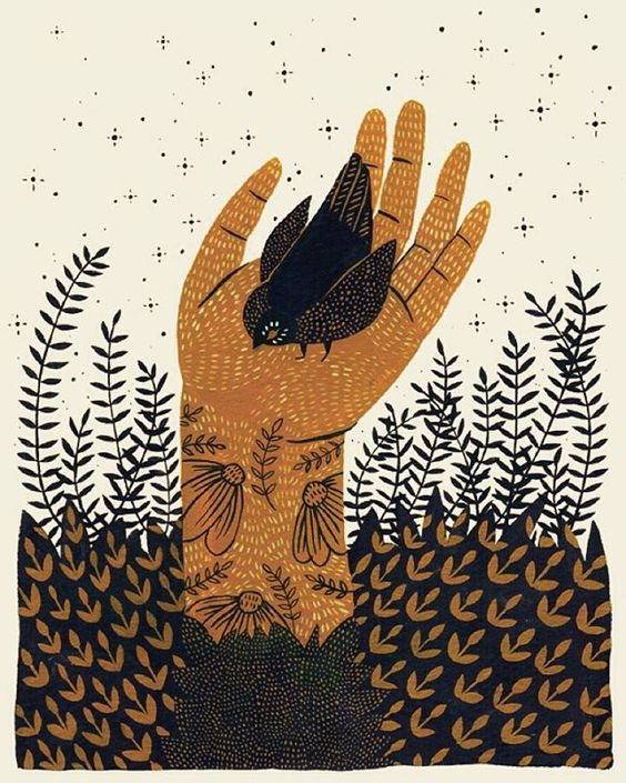 """""""Cradled,"""" 2015. Just a few left of this limited edition print! gouache hand illustration bird in hand"""