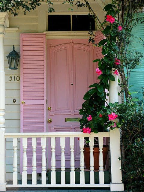 My door would be pretty in pink.: Things Pink, Pink House, Climbing Rose, Front Doors, Pink Front, Pink Shutters, Pink Doors