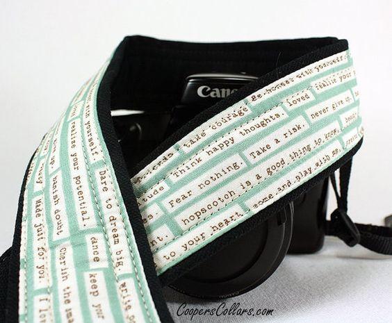 Positive thinking camera strap! https://www.etsy.com/listing/121809089/dslr-camera-strap-happy-thoughts-aqua