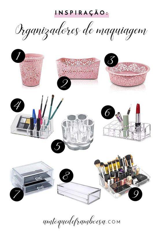 Objetos para organizar maquiagens na penteadeira