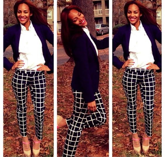 The best thing a woman can wear is confidence #women #fashion #navy #fall #trendy #prints #polo #buttonup #blazer #shoes
