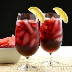Strawberry-Watermelon Red Wine Sangria - a light and refreshing summer cocktail.  #foodgawker