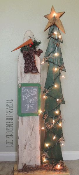 Trees snowman and christmas on pinterest - How to make a snowman out of wood planks ...