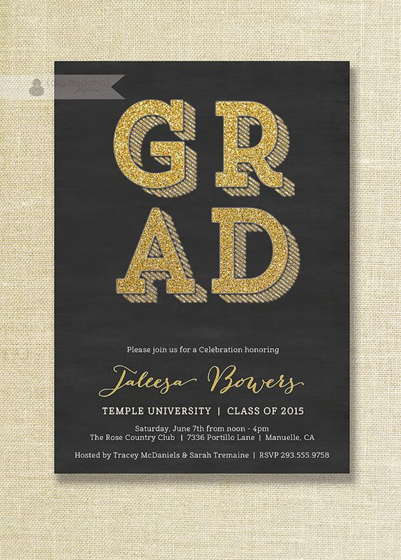 Graduation invitations Black gold and Graduation – Black and Gold Graduation Invitations