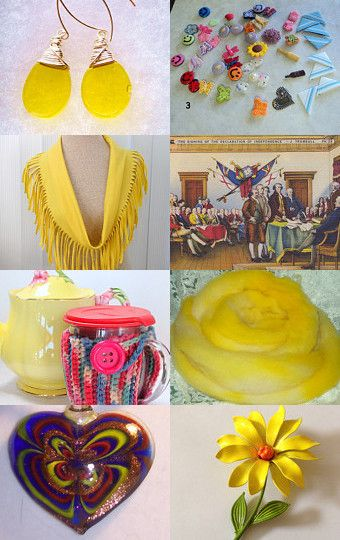 Click the photo and follow the prompts to this sunny treasury of handmade, supplies, and vintage goodies. Today is a good day to shop.
