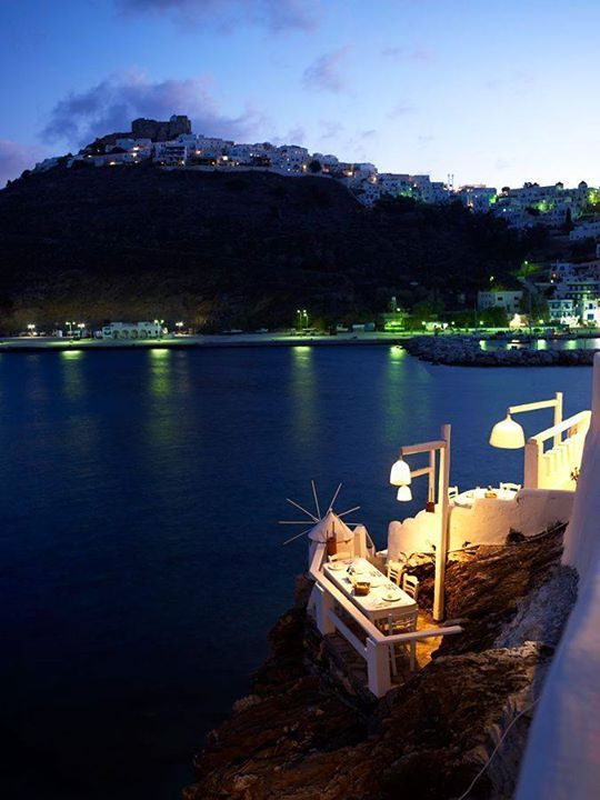 What an amazing dinner spot! By the sea in Astypalea, Greece