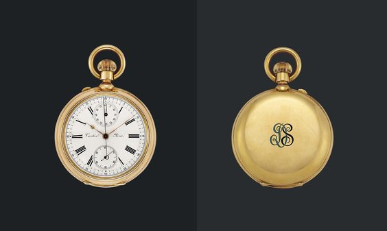 AN EARLY 20TH CENTURY GOLD POCKET WATCH, BY CARTIER The circular white dial with black painted Roman numerals, polished hands and two subsidiary dials at 12 and 6 o'clock, with hinged glazed cover and polished case, the back with applied blue and black enamel monogram 'SD', the inside with engraved inscription reading 'to Sam Darling from Clarence H. Mackay Troubled Waters april 16th 1909', the movement with further hinged dust cover, mechanical movement, circa 1905