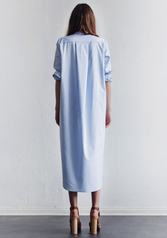 light blue maxi shirtdress & platform sandals #style #fashion #minimal #summer: