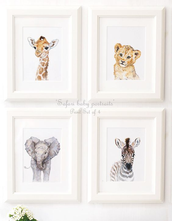 African animals - Safari Nursery - Safari Animal Portrait set of 4 - Giclee - Safari Nursery Art - Baby Lion - Giraffe - Zebra by ElfinLilac on Etsy https://www.etsy.com/listing/453097356/african-animals-safari-nursery-safari: