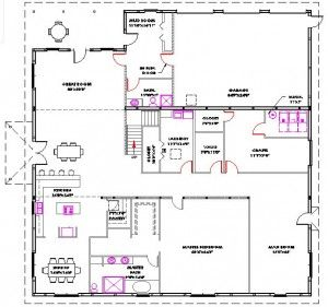 Open floor plan metal building look at how they have for Metal building office floor plans