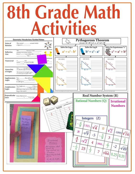 Start your Math Units or Review with these Engaging visual math tasks and activities to teach your 8th grade math curriculum!  Great for Interactive Notebooks, Stations, and More!  If you must differentiate with your students there are numerous graphic organizers perfect for Interactive Notebooks and Tiered tasks in the Pythagorean Theorem & Real Number System challenges! Activities for Stations, starters, assessments, interactive notebooks, and more.