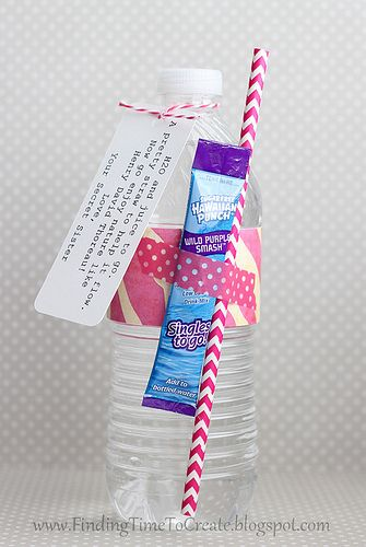 """bottle-gift-""""H2O and juice to go.  A pretty straw to help it flow.  Now go enjoy nature like Henry David Thoreau!  Love,  Your Secret Sister"""""""