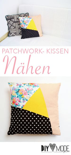 asymmetrisches patchwork kissen n hen diy mode n hanleitung diy mode anleitungen pinterest. Black Bedroom Furniture Sets. Home Design Ideas