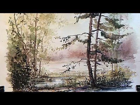 Watercolor Realism Painting A Beautiful Forest Landscape Youtube Kartiny Pejzazha Risunki Pejzazhej Idei Ozeleneniya