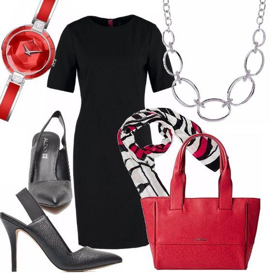 Outfit elegante e distinto. Tubino nero, scollo tondo, manica corta. Décolleté nera tacco a stiletto con fascia elastica al tallone. Borsa in pelle rossa. Foulard, orologio rosso, collana argentata a cerchi.