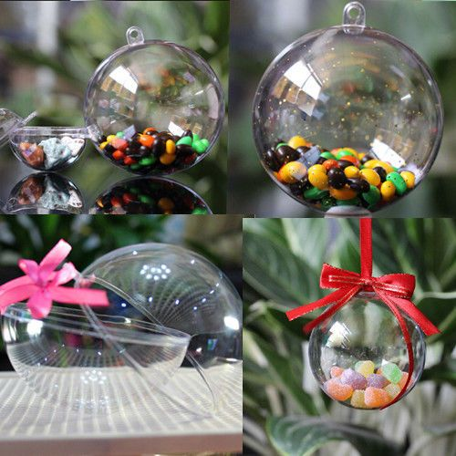 5PCS Xmas Ornament Tree Favor Gift Candy Snack Ball Box Transparent Clear Boxes #Unbrand
