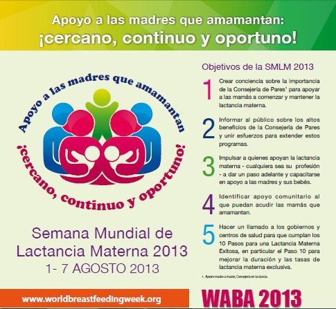 Logo y lema de la Semana Mundial de la Lactancia Materna: 1 - 7 de agosto de 2013