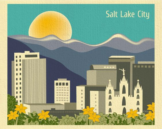 Salt Lake City, Utah is available in an array of finishes, materials, and sizes, this retro inspired wall art will make Salt Lake City feel close to your heart with its bright color palette and unique