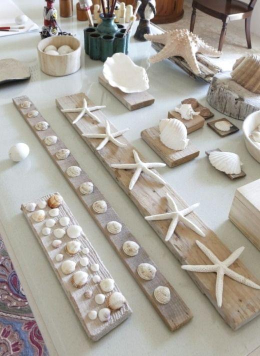 Diy Seashell Wall Art Decor Ideas Mounting Shells On Wood Planks Diy Beach Decor Seashell Wall Art Sea Shell Decor