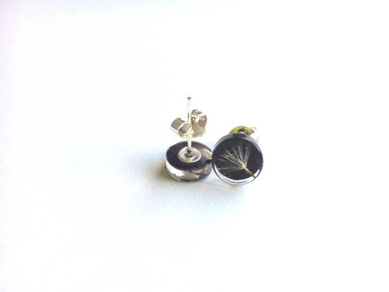 Small black real dandelion resin studs Make a wish by byRima