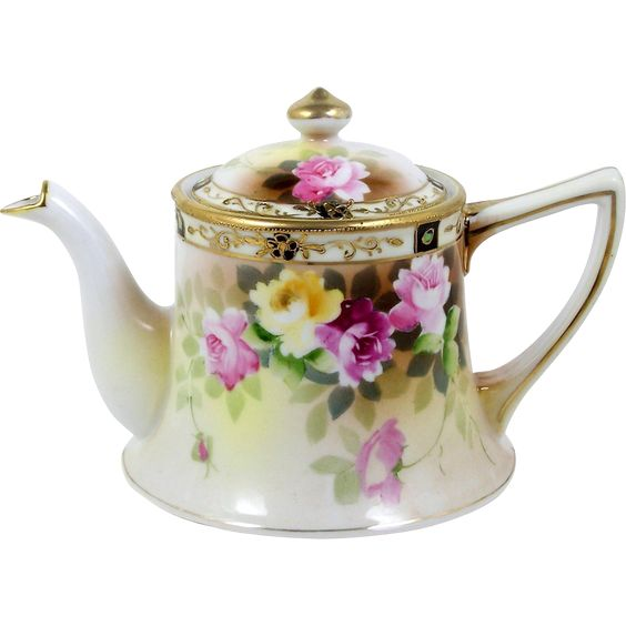 Antique Personal Teapot Nippon Individual Hand Painted Roses Gold Bead Trim from 501 Memory Lane on Ruby Lane