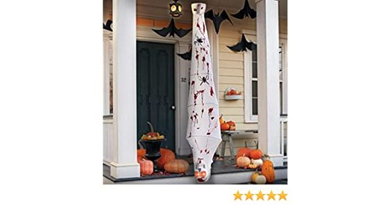 72 Scary Hanging Cocoon Corpses Props Red Glowing Eyes and Voice Activated Halloween Decorations Outdoor Spooky Scary Skeleton Body for Window Wall and Outdoor Indoor Yard Patio House Decor