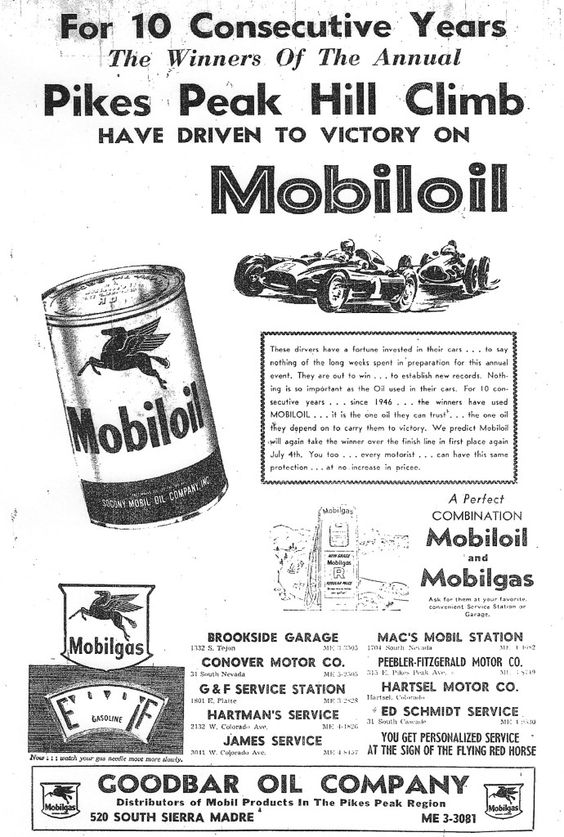 Mobiloil ad from 1956 . Pikes Peak Hill Climb race