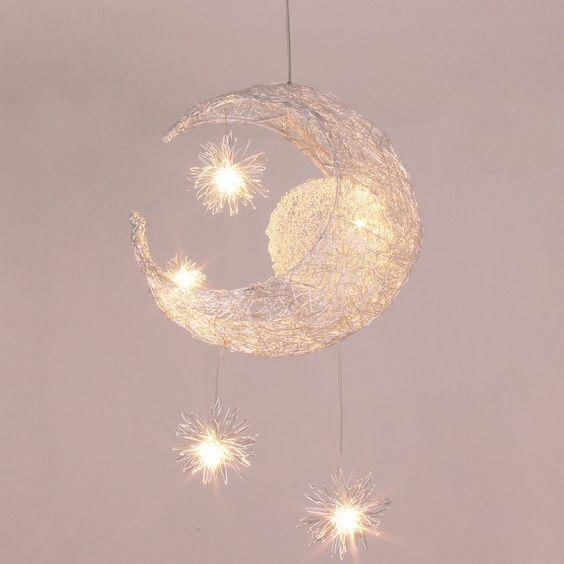 2013 new novelty Kid children room light lamp modern pendant light lamp for home Moon Star light wicker lamp light-in Ceiling ... $45