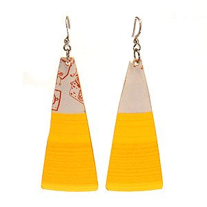 Earrings made out of recycled vinyl records