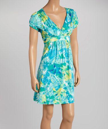 Loving this Blue & Yellow Tropics Empire-Waist Dress on #zulily! #zulilyfinds