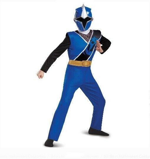 Blue Ninja Steel Power Rangers Boys Fancy Dress Superhero Childrens Kids Costume