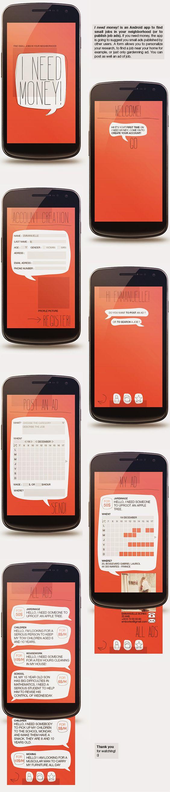 I need money! - Android app concept | Designer: Emmanuelle Bories | Project: http://www.behance.net/gallery/I-need-money-Android-app-2013/7597445