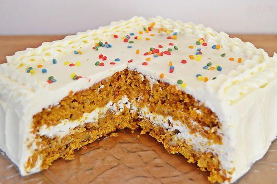 carrot-cake Tarta de zanahoria, piña y nueces y...