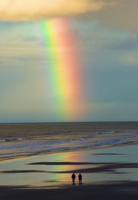 Beach rainbow - Bamburgh, Northumberland, England  (by Paul Spencer on Flickr)