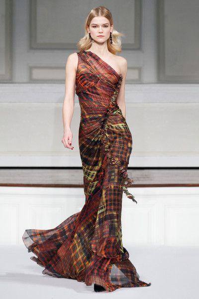 Colorful Plaid Gown at Oscar | Oscar De La Renta Madras Plaid Chiffon Gown in Multicolor (multi ...