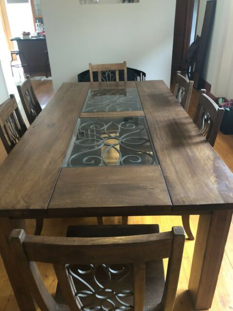 Solid Mango Wood Dining Table And 6 Chairs Set Dining Tables