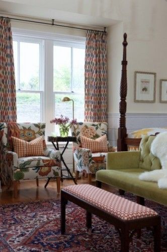 wonderland pearl on chairs : Sarah Richardson's farmhouse bedroom