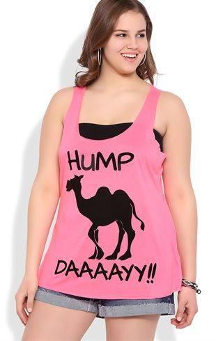 Deb Shops Plus Size Neon Hump Day Racerback Tank with Camel Screen $10.00: