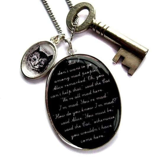 Ahh love this! --- We're All Mad Here Victorian Alice in Wonderland and the Cheshire Puss Vintage Key and Large Charm Necklace from Hoolala's Etsy shop. $54
